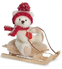 peluche-teddy Ours de collection et sa luge 15 cm