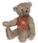 peluche-teddy Ours de collection vintage beige rouge 30 cm