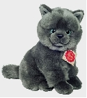 peluche-teddy Peluche chat gris assis Hermann 20 cm